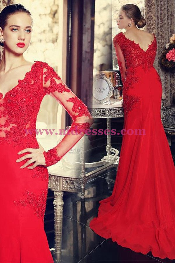 Long Sleeves Mermaid Red Lace Prom Dresses Party Evening Gowns 474