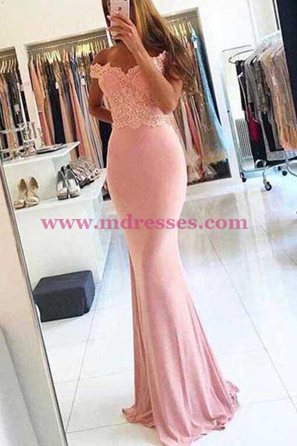 Mermaid Off-the-Shoulder Lace Long Pink Prom Dresses Party Evening Gowns 486