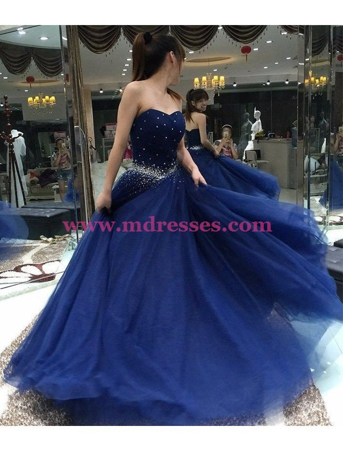 Long Blue Beaded Prom Dresses Party Evening Gowns 489