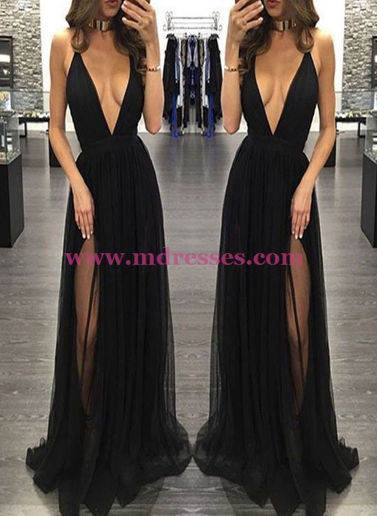 Sexy Low V-Neck Long Black Prom Dresses Party Evening Gowns 492