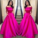 A-Line Off-the-Shoulder Long Prom Dresses Party Evening Gowns 495