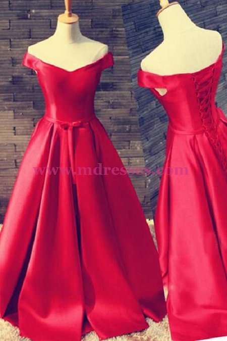 Long Red Off-the-Shoulder Prom Dresses Party Evening Gowns 500