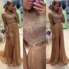Beaded Two Pieces Long Prom Dresses Party Evening Gowns 502