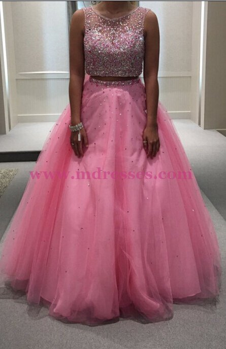 Beaded Two Pieces Long Pink Keyhole Back Prom Dresses Party Evening Gowns 503