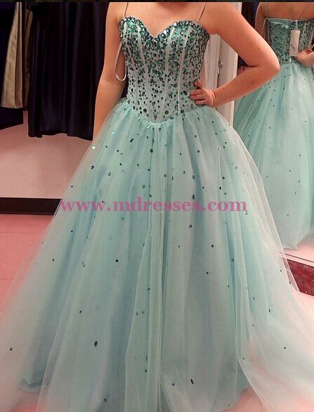 Ball Gown Beaded Tulle Prom Dresses Party Evening Gowns 504