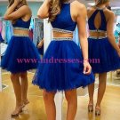 Two Pieces Beaded Tulle Short Homecoming Cocktail Prom Dresses 506