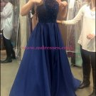 A-Line Beaded Halter Long Blue Prom Dresses Party Evening Gowns 507