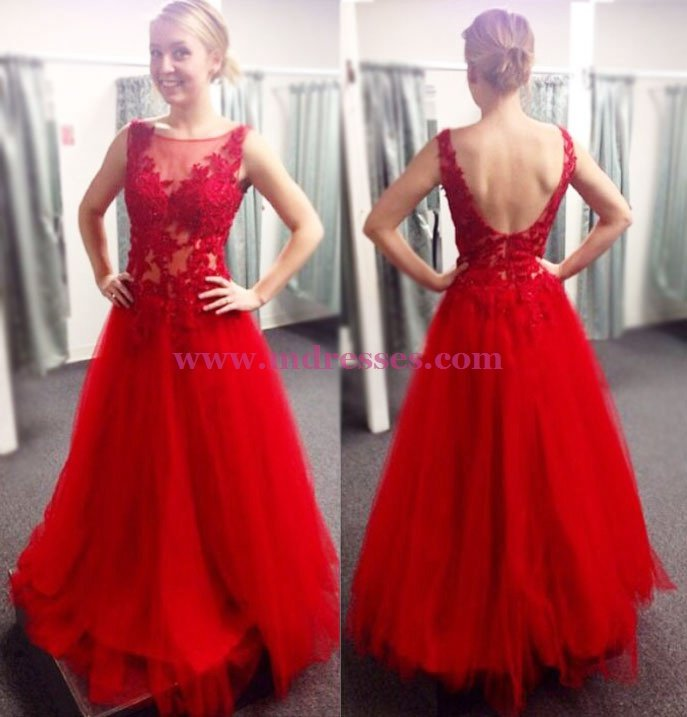 Long Red Lace and Tulle Prom Dresses Party Evening Gowns 508