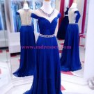 Long Blue Beaded Illusion Neckline Prom Dresses Party Evening Gowns 511