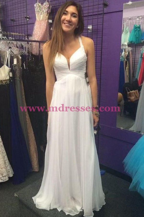 Long White Chiffon Prom Dresses Party Evening Gowns 517