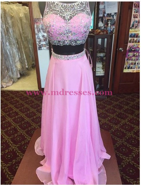 Long Pink Beaded Chiffon Prom Dresses Party Evening Gowns 522
