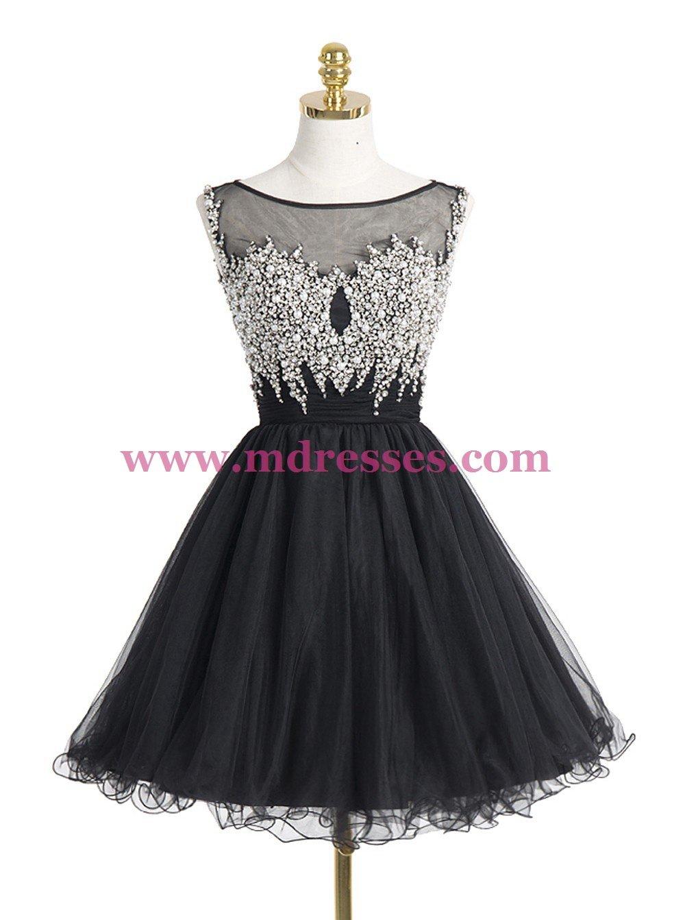 Short/Mini Illusion Neckline Beaded Black Homecoming Cocktail Prom Dresses 523