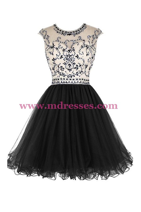 Short Black Beaded Homecoming Cocktail Prom Dresses 525