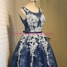 Short Blue Tulle White Lace Appliques Homecoming Cocktail Prom Dresses 527