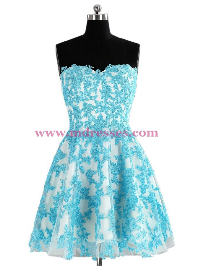 Short Blue Lace Appliques Homecoming Cocktail Prom Dresses 528