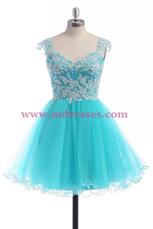 Short Blue Lace Tulle Homecoming Cocktail Prom Dresses Party Evening Gowns 529