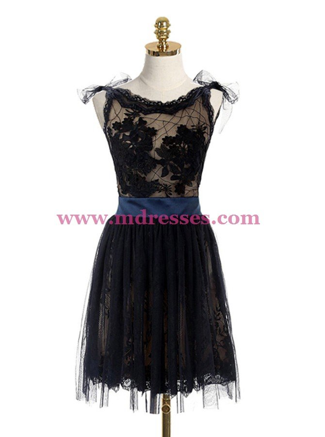 Short Black Lace Backless Homecoming Cocktail Prom Dresses Party Evening Gowns 531