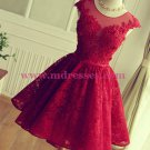 Short Burgundy Lace Keyhole Back Homecoming Cocktail Prom Dresses 532