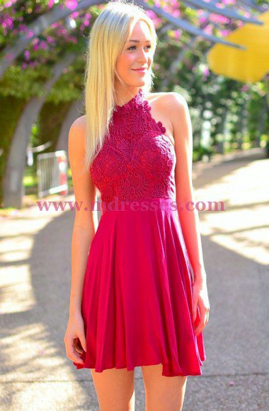 Short Halter Lace Chiffon Homecoming Cocktail Prom Dresses 534