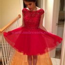 Short Red Beaded Homecoming Cocktail Prom Dresses 535
