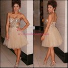 Short Beaded Tulle Homecoming Cocktail Prom Dresses Party Evening Gowns 545