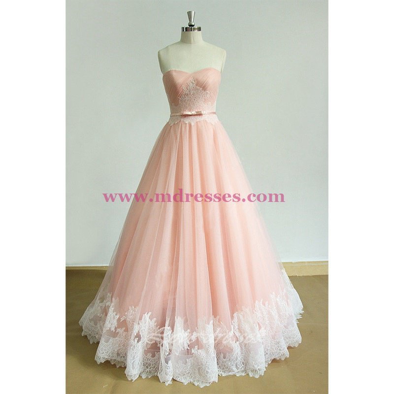 A-Line Long Pink Lace Prom Dresses Party Evening Gowns 548
