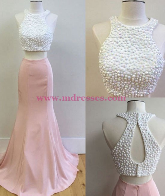 Two Pieces Pink White Prom Dresses Party Evening Gowns 549