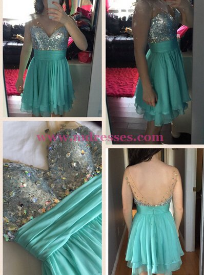 Short Beaded V-Neck Homecoming Cocktail Prom Dresses Party Evening Gowns 550