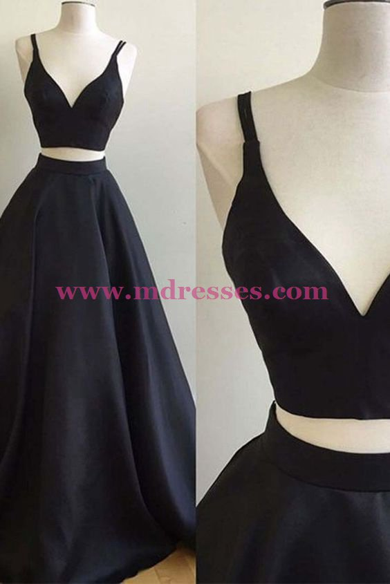 A-Line Two Pieces Simple Long Black Prom Dresses 554
