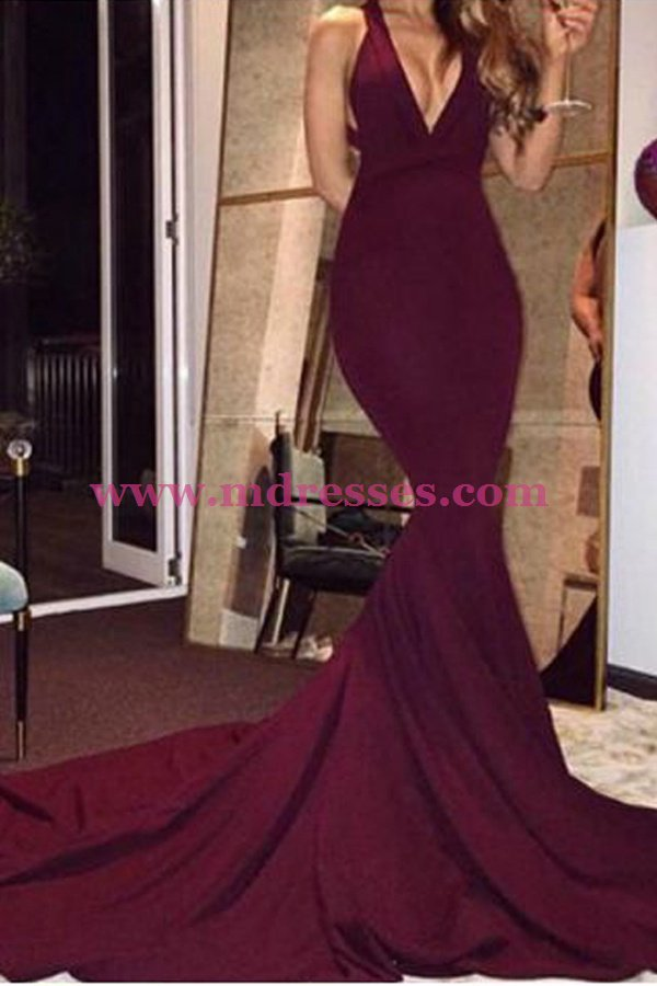 Mermaid Low V-Neck Burgundy Long Prom Dresses 555