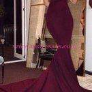Mermaid Low V-Neck Burgundy Long Prom Dresses 555