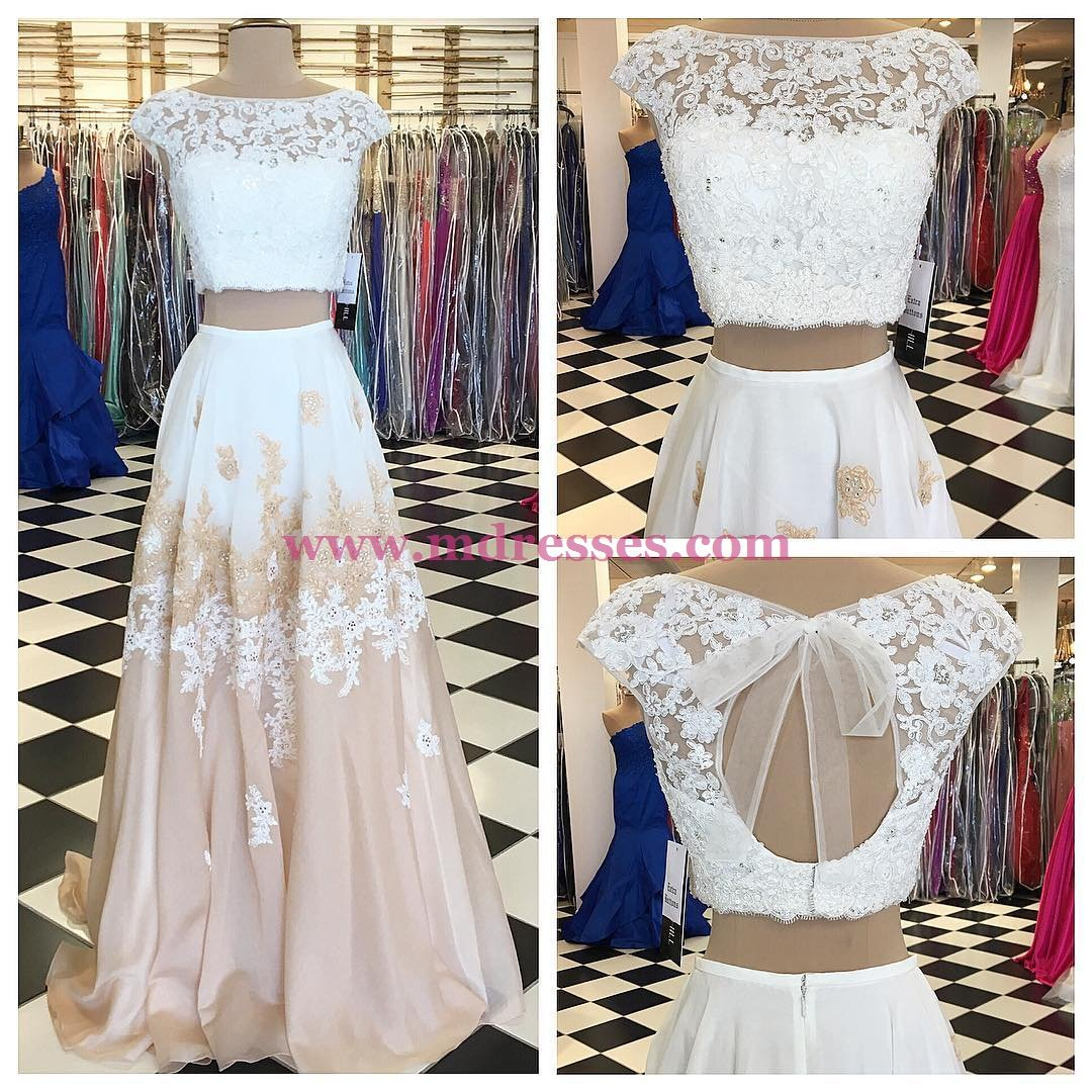 A-line Two Piece Long Floor Length Prom Dress with Open Back 557