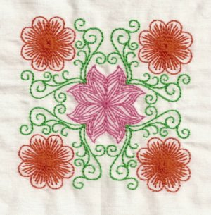 Multi Color Floral Blocks Embroidery Designs 4x4 Hoop