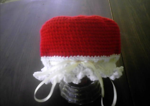 Mrs santa claus crocheted red and white hat girls women or