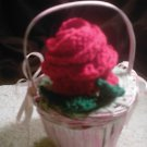 red rose flower basket shabby chic rose decor crocheted rose in basket valentines day gift