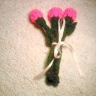 3 pink long stem roses crocheted pink rose buds