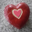 red heart shaped trinket box small ceramic heart jewelry box ceramic upcycled  heart bowl small