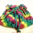 psychedelic mixed color crocheted makeup travel bag