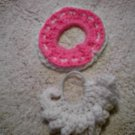 2 hair scrunchies pink and white hand crocheted ponytail holders