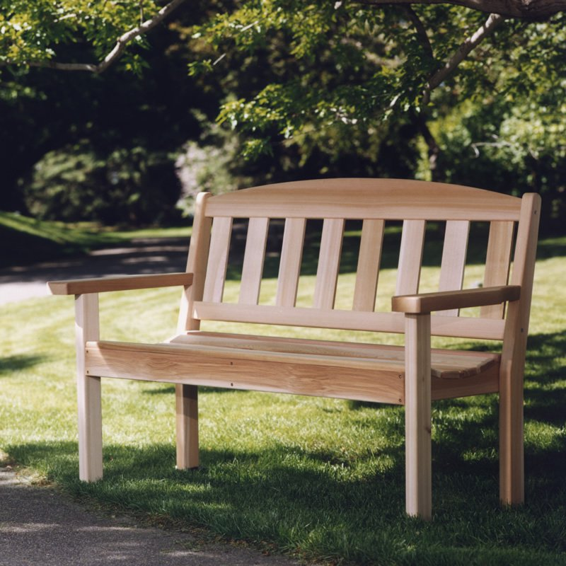 Wooden Bench Kit ~ Wooden garden bench clear western red cedar unassembled
