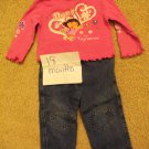 Dora 18mo outfit with matching headband or hair clip