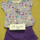 24mo girls purple outfit with matching headband or hair clip