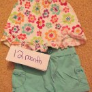 12 mo girls spring/summer outfit with matching headband or hair clip