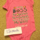 12 mo Las Vegas baby girl onsie with matching headband or hair clip