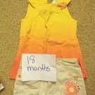 18 month yellow/orange girls spring/summer outfit with matching headband or hair clip