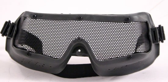 Rubber Airsoft Safety Goggles w Metal Grated Lens - Free Ship