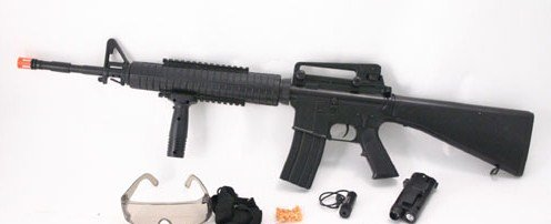 AS52: M16-A2 Air Soft Rifle Gun:Laser Site - FREE Shipping