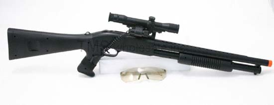 AS94: Riot Air Soft Pump Shotgun w Laser and Scope - FREE Shipping