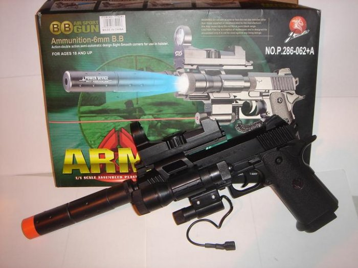Airsoft Handgun w/Laser, Tactical Light, Scope, and Silencer