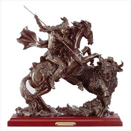 LIBERY BRONZE BUFFALO HUNTING